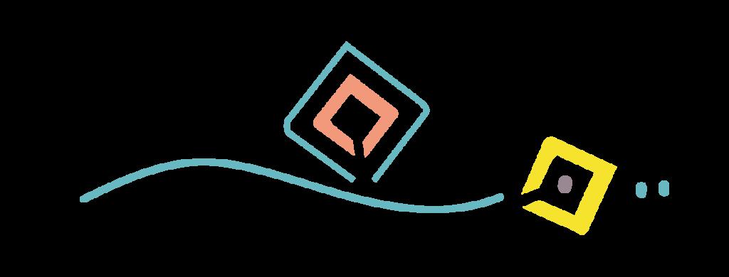 illustration vectorielle des symboles qui forment le logo Maoma : un dragon simplifié